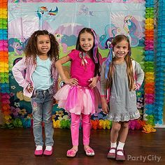 "Everyone can show off their ""cutie marks"" in front of the My Little Pony scene setter for a Ponyville fashion show!"