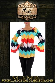 Chevron Bell Sleeve Top! http://www.marliemadison.com/tops/chevron-bell-sleeve-top