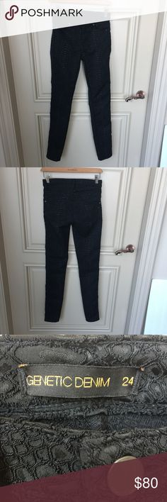 Genetic Denim Slim Jean Genetic Denim Slim Jean. Size 24. In brand new condition. Never worn black embroidered stretchy comfortable fit. Genetic Denim Jeans Skinny