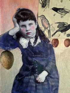 Winged Dreams vintage child  inspired mixed media by MaudstarrArt
