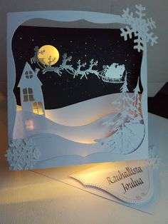 Shadow box / diorama card with led lights Shadow box / diorama car. Shadow box / diorama card with led lights Shadow box / diorama card with led lights Diy Christmas Shadow Box, Christmas Card Crafts, Christmas Frames, Holiday Crafts, Christmas Decorations, Dyi Crafts, Paper Crafts, Cardboard Box Crafts, Paper Light