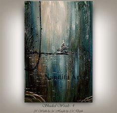Original paisaje acrílico pintura por ContemporaryArtDaily en Etsy