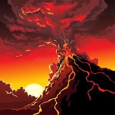Illustration about Illustration of big Volcano eruption. Illustration of earthquake, illustration, mountain - 63302957 Landscape Drawings, Art Drawings, Landscape Photos, Volcano Drawing, Best Disney Animated Movies, Erupting Volcano, 3rd Grade Art, Watercolor Sketchbook, Aesthetic Drawing