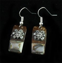 Fine earrings of pewter Aztec design incrustation on coconut with abulone shell