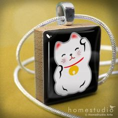 LUCKY CAT (Black) - Scrabble Game Tile Pendant Charm