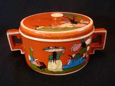 Mexican vintage pottery and ceramics, a beautiful Tonala or Tlaquepaque lidded bowl with handles, probably meant as a tortilla warmer, with fantastic artwork, Tonala or Tlaquepaque, Jalisco, c. 1930's.
