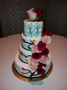 Quinceanera cake displayed at the venue.