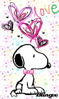 MOVING HEARTS & SNOOPY  PHOTO - Snoopy  (CLICK on GIF)  ❤️