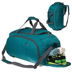 998137c9727e SKYLE 3-Way Travel Duffel Bag Backpack Travel Luggage Gym Sports Bag with  Shoe Compartment