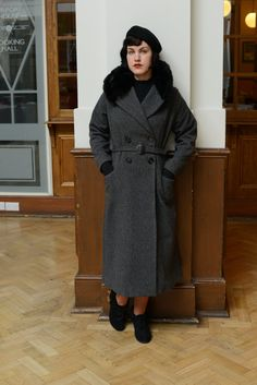 Nora-  Early 1930s inspired wool coat with black faux fur stand up collar