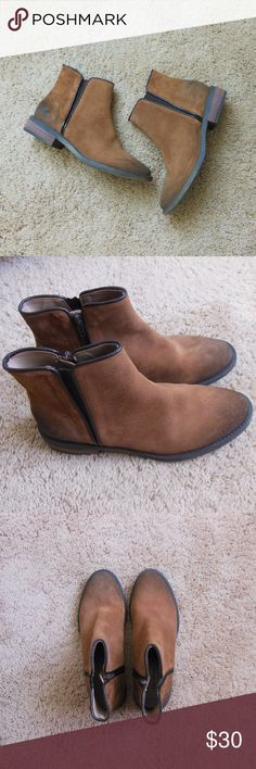 Zara Trafaluc Leather Ankle Booties 6.5 / 37 Worn once. Excellent condition. Sold as shown. It is supposed to have that worn in look, and looks exactly the same as when I first bought it. Zara Shoes Ankle Boots & Booties