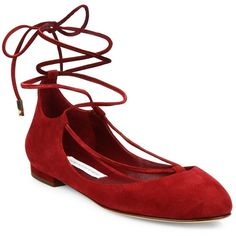 Diane von Furstenberg Paris Suede Lace-Up Ballet Flats found on Polyvore featuring shoes, flats, red, apparel & accessories, mulberry, ankle wrap flats, lace up ballet flats, round toe ballet flats, lace up flats and flat shoes