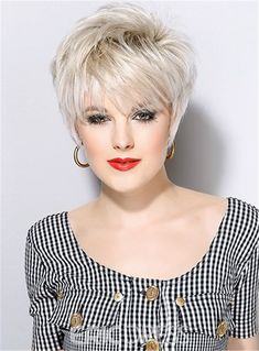Ericdress Short Pixie Cut Straight Synthetic Hair Capless Wigs With Bangs 8 Inches Short Sassy Hair, Short Brown Hair, Short Straight Hair, Short Hair With Bangs, Short Hair Cuts For Women, Short Hair Styles, Short Pixie, Full Bangs, Pixie Cut