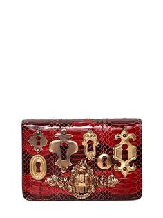 dcb8b2edd4 #DOLCE & GABBANA - GINEVRA SNAKESKIN CLUTCH Borse Rosse, Frizione Rosso,  Borsetta Rossa