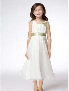 Organza Jewel Neckline A-Line Flower Girl Dress with Delicate Waistband - Bridal Party Dresses - RainingBlossoms