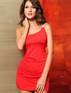 One Shoulder Red Sheath Sleeveless Party Dress  #ShopSimple