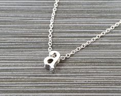 Silver Initial Necklace Gold Tone Heart by TheMonkeyCharmer