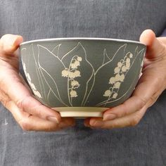 Lily of the Valley bowl. . . . . #ceramics #stoneware #sgraffito #pottery #potter #clay #handthrown #handdrawn #bowl #cremerging