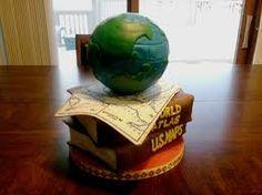 Globe cake, The Secret, yoga mat, record, flags,