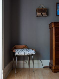 I chose this for the light coming in from the left. The space is cooler but the light allows the temperature to warm Wall Colors, Paint Colors, Skirting Boards, Take Apart, Home Interior Design, House Tours, Dark Grey, Buffalo, Bedroom Ideas