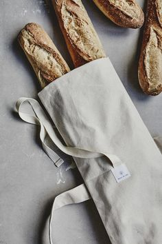 Kitchen Bag Baguette French Stick Loaf Cotton Rustic Mothers Gift// Red White