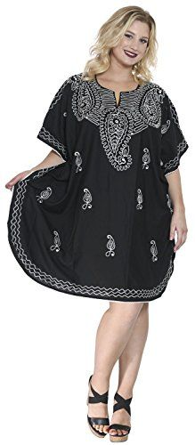 Womens Embroidered Swimwear Beach Dress Dress Caftan Black Aloha Dress Plain Valentines Day Gifts 2017 >>> More info could be found at the image url.