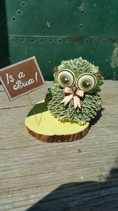 Quilled Art Quilling Owl Paper Wood  Boy Baby by ToschaArt on Etsy