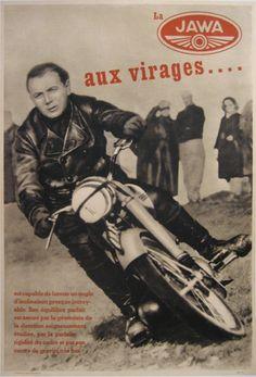 1950s JAWA Motorcycles vintage poster advert