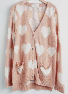 Pink heart cardigan