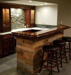 Pictured is a DIY home bar crafted by Luke B. in Rock Island, IL! This bar features our traditional wood bar arm rest molding with a cropped corner & 135 degree angled return: Home Bar Plans, Basement Bar Plans, Basement Remodel Diy, Basement Bar Designs, Home Bar Designs, Basement Remodeling, Kitchen Remodel, Basement Ideas, Kitchen Renovations