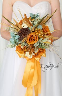 Rustic mustard yellow wedding bouquet made with pods, wheat and greenery Bridal Bouquet Fall, Fall Wedding Bouquets, Bride Bouquets, Bridesmaid Bouquet, Flower Bouquets, Wedding Centerpieces, Mustard Yellow Wedding, Yellow Wedding Flowers, Yellow Roses