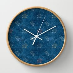 denim pattern with flowers Wall Clock by daphnadotan Denim Decor, Denim Ideas, Blue Denim, Blues, Clock, Wall, Flowers, Pattern, Gifts