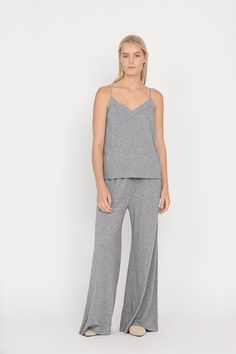 Loungewear made from the softest pima-modal: our sleep set is a luxury approach to dressing for home. Its silhouette is defined by long pants and our signature cami silhouette with a delicate strap detail at the back. This feminine option for evening is thoughtfully crafted in Peru to be at once warm and breathable.