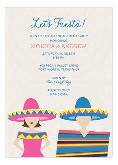 Brunette Fiesta Couple Invitation
