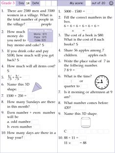Search Results for Grade 3 day 1 3rd Grade Math Worksheets, Free Math Worksheets, 1st Grade Math, Grade 3, Math Riddles With Answers, Ben 1o, Math Olympiad, Math Pages, Math Games For Kids