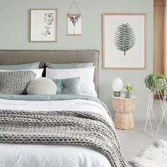 Ahh the serenity! Stunning Scandinavian styled bedroom by Melbourne based interior stylist 👈🏻 for the latest edition of photo by Bedroom Green, Room Ideas Bedroom, Cozy Bedroom, Bedroom Colors, Home Decor Bedroom, Bedroom Wall, Scandinavian Bedroom, Bedroom Interiors, Design Bedroom