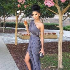 Find More Bridesmaid Dresses Information about Super sexy bridesmaid dress one shoulder side draped chiffon dark grey bridesmaid gown beads women wedding party dresses 2015,High Quality dress up games dress,China dress clubbing Suppliers, Cheap dress pencil from Ice-Beauty-Dresses on Aliexpress.com