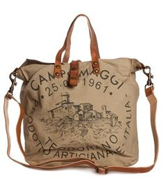 C1389-TEVL is a lovely printed canvas bag from Campomaggi now in stock!
