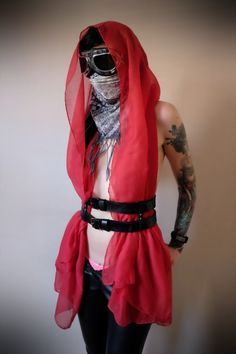 Dystopian Desert Costume - real leather 2 story black underbust harness with Red scarf/wrap - apocalypse, mad max, fury road, burning man by Vontoon on Etsy
