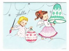 Vintage Angels Painting Christmas Ornaments Greeting Card