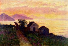 """""""Crepúsculo en Algorta"""", 1909. Óleo sobre lienzo de Darío de Regoyos (1857-1913), 31,5 x 47 cm., colección particular."""