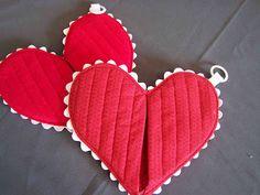 Como hacer manoplas de cocina con forma de corazon