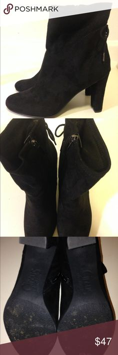 "Black suede booties These booties have a really cute lace-up accent on the back. Has 4 "" heel. The heels are chunky so they're really comfortable to walk in and wear. Worn once. Like new. Circus by Sam Edelman Shoes Ankle Boots & Booties"