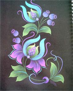 Mandala Painting, Tole Painting, Pottery Painting, Fabric Painting, Painting & Drawing, Folk Art Flowers, Flower Art, Rosemaling Pattern, Norwegian Rosemaling