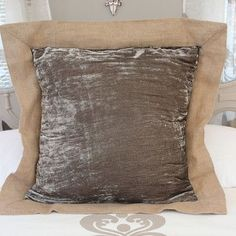 Luscious Soft Earth Brow Silk Velvet Euro Sham with Jute Trim x Personalized Decorative Pillow, Pillows, Euro Shams, Indoor Pillow, Throw Pillows, Custom Pillows, Norwegian Wood, Sham, Dream Pillow
