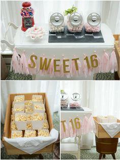 Sweet 16 Birthday Party Ideas and Printables - via BirdsParty.com
