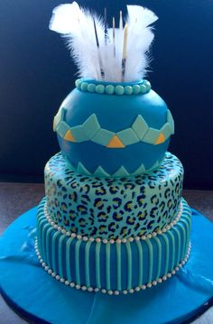 Blue and white traditional African wedding cake