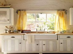 Kitchen:Beautiful Modern Kitchen Curtain Design Inspiration Traditional Yellow Fabric Floral Kitchen Curtain With Small White Contemporary Laminated Wood Kitchen Cabinet Also White Plain Laminated Brick Wall