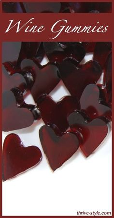 Wine Fruit Snacks -- Wine Gummy Hearts -- Not for kids! These are so awesome and just a few ingredients... wine, gelatin, stevia, maple syrup. Cant wait to make more :-) #healthysnack #lowsugar #fruitsnacks - poshhome.info
