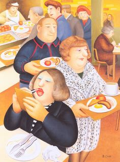 """""""Breakfast"""" by Beryl Cook, OBE (10 September 1926 – 28 May 2008) was an English artist best known for her original and instantly recognisable paintings of people enjoying themselves in pubs, girls shopping or out on a hen night, drag shows or a family picnicking by the seaside or abroad – tangoing in Buenos Aires or gambling in Las Vegas.[1] She had no formal training and did not take up painting until middle age."""